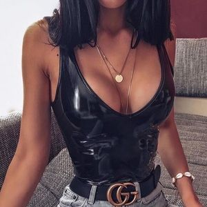 Tigermist Faux Leather bodysuit